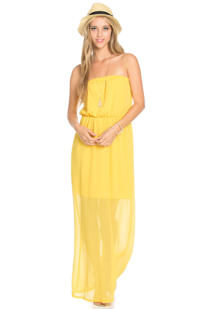 Yellow Tube Maxi Dress - Dresses - My Yuccie - 1
