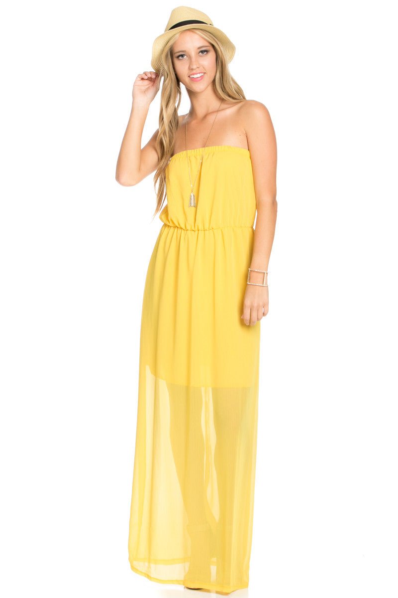 Yellow Tube Maxi Dress - Dresses - My Yuccie - 2