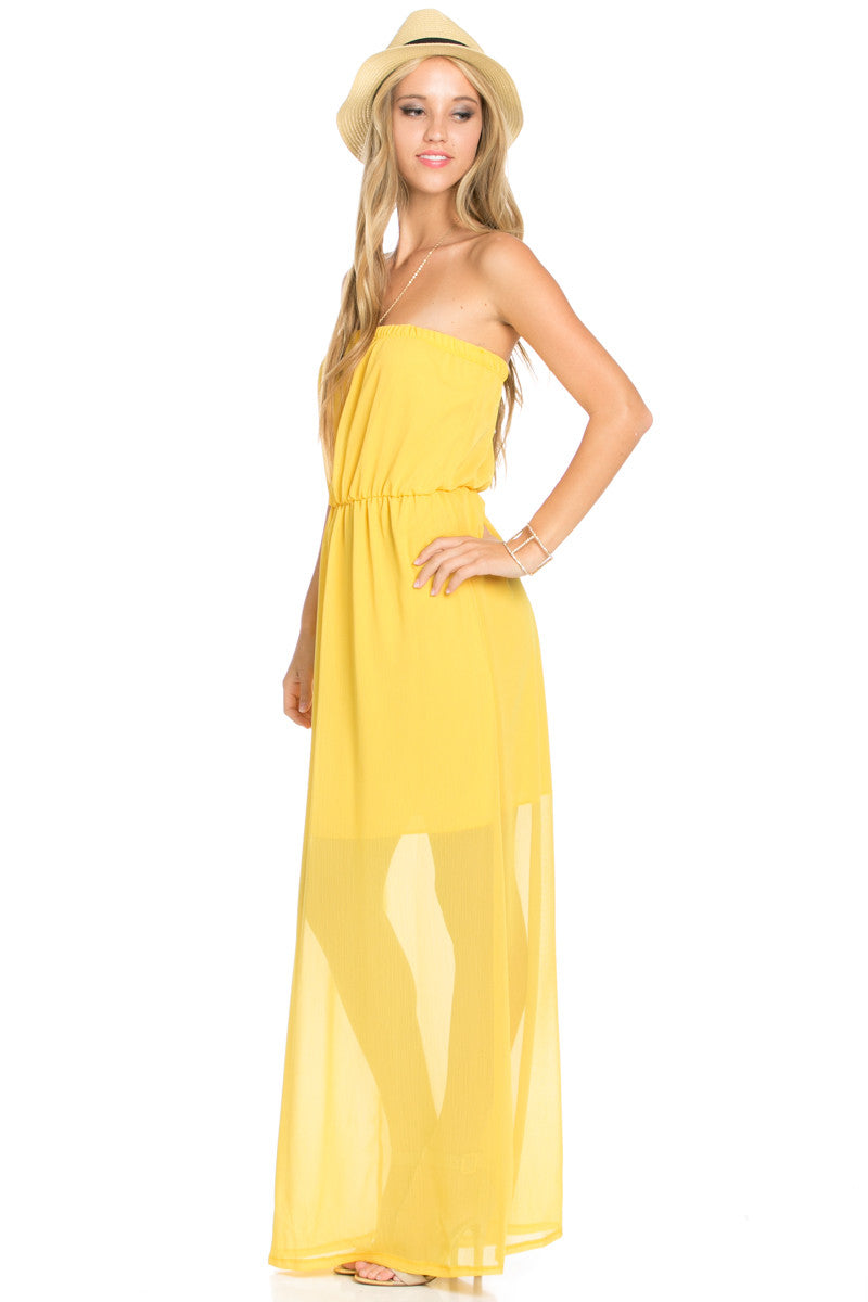 Yellow Tube Maxi Dress - Dresses - My Yuccie - 3