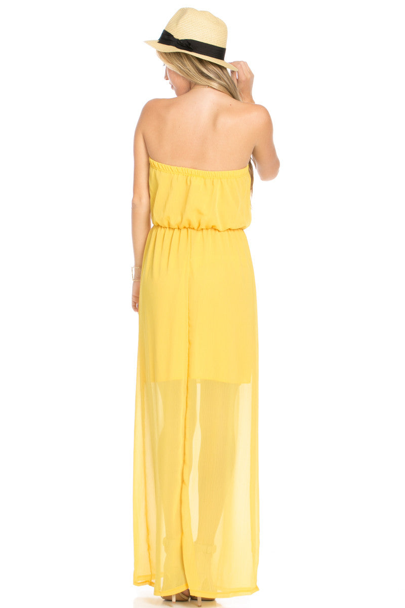 Yellow Tube Maxi Dress - Dresses - My Yuccie - 4