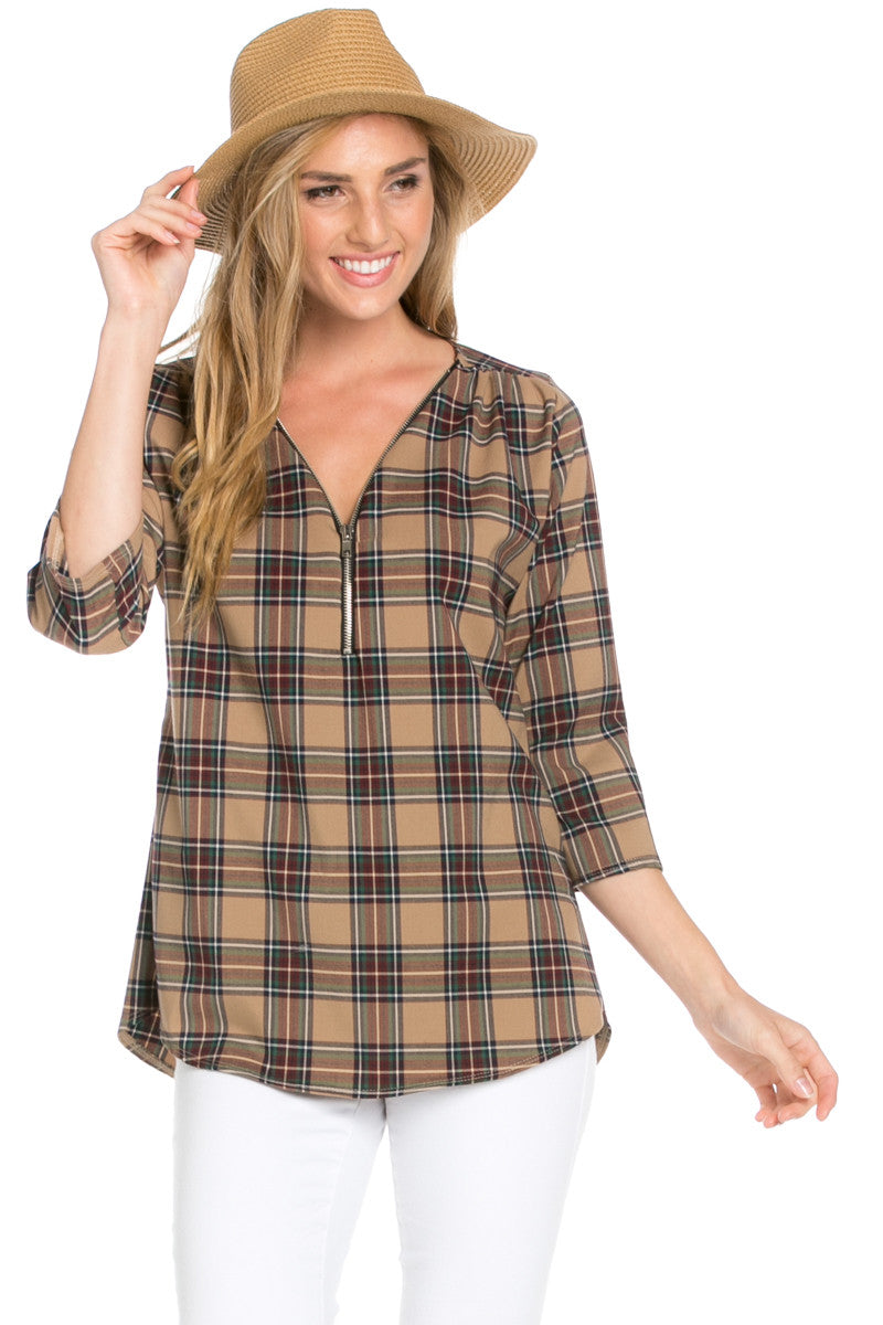Zip Neck Brown Plaid Top - Tops - My Yuccie - 1