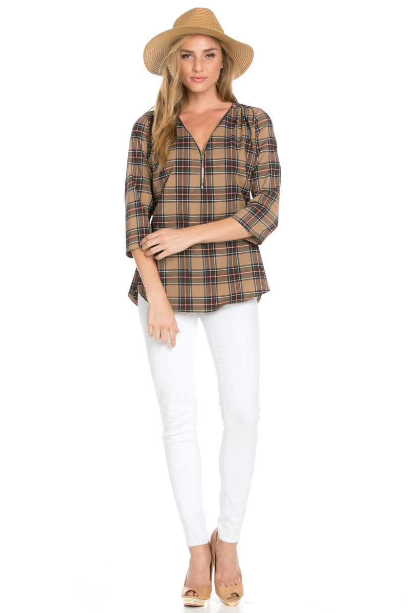 Zip Neck Brown Plaid Top - Tops - My Yuccie - 4