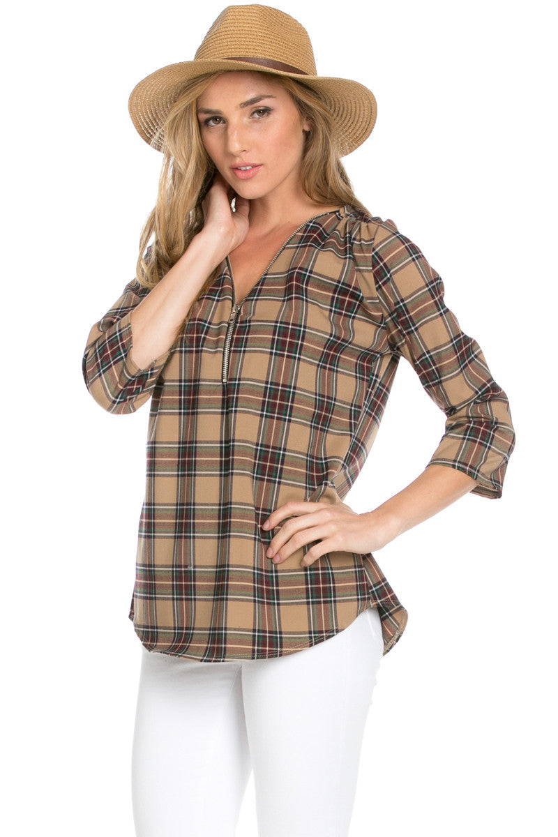 Zip Neck Brown Plaid Top - Tops - My Yuccie - 2