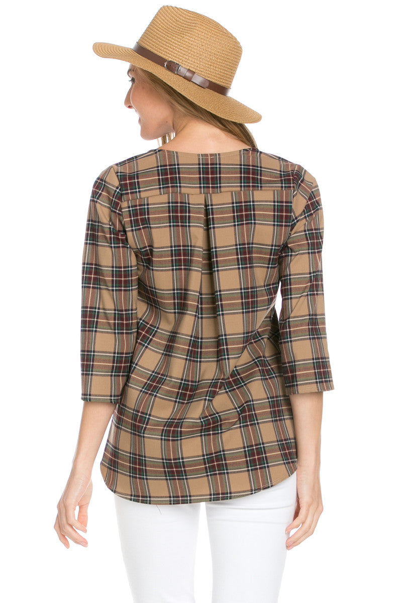 Zip Neck Brown Plaid Top - Tops - My Yuccie - 3