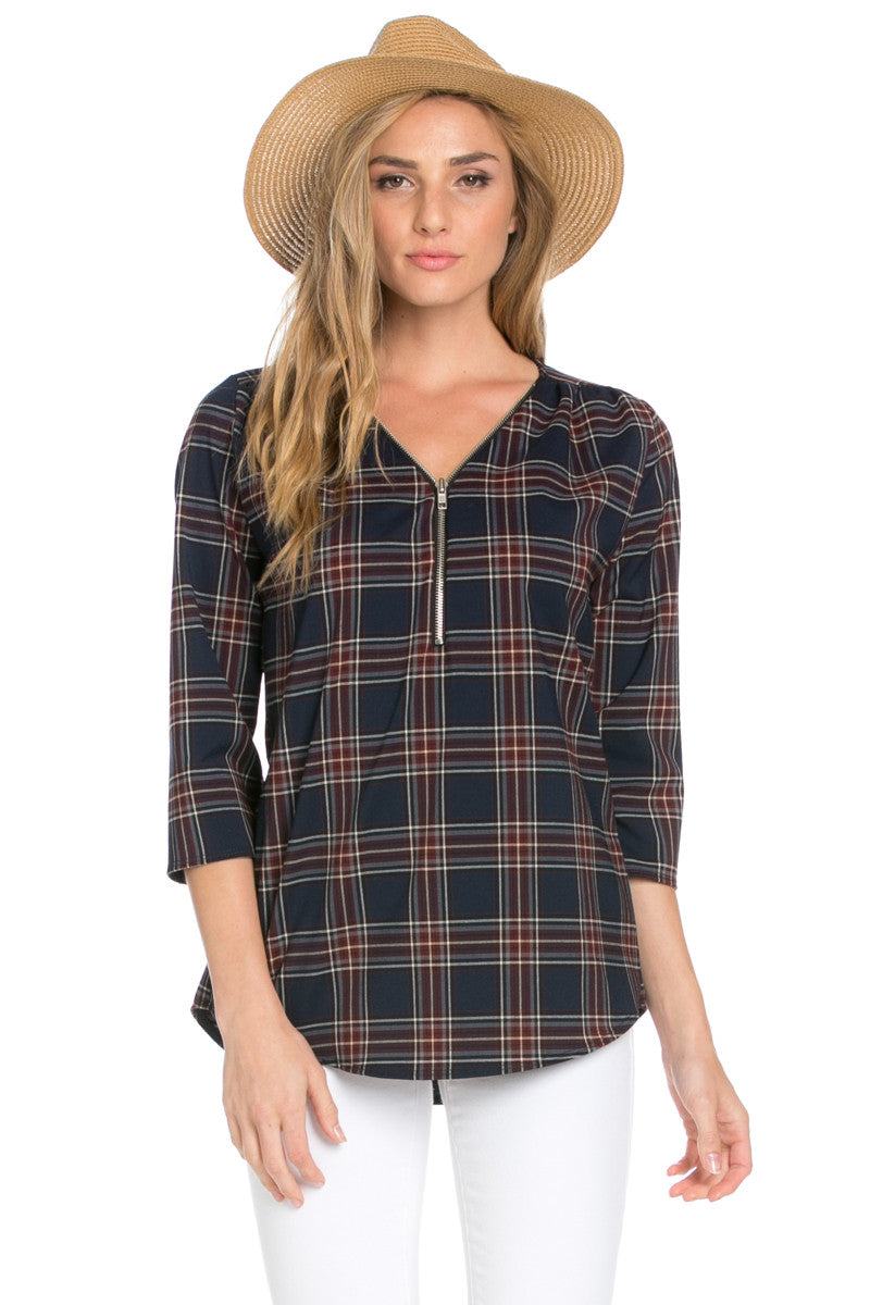 Zip Neck Navy Plaid Top - Tops - My Yuccie - 1