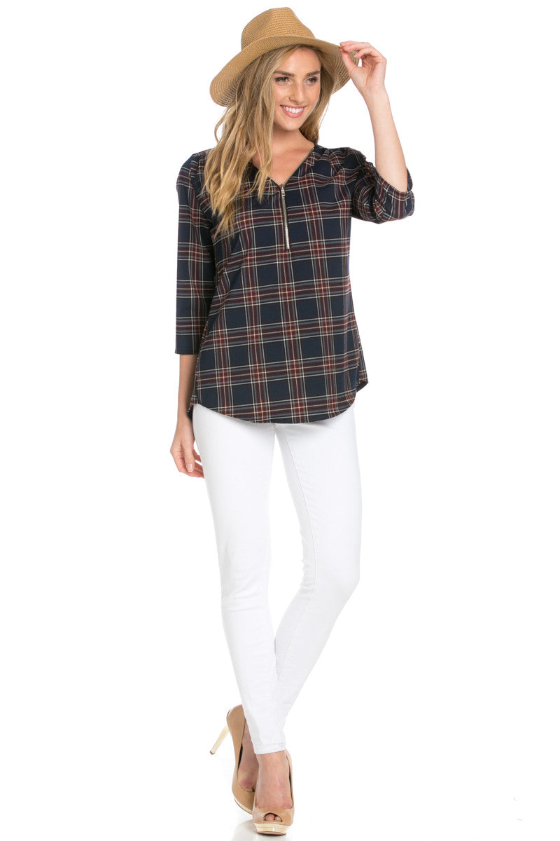 Zip Neck Navy Plaid Top - Tops - My Yuccie - 4