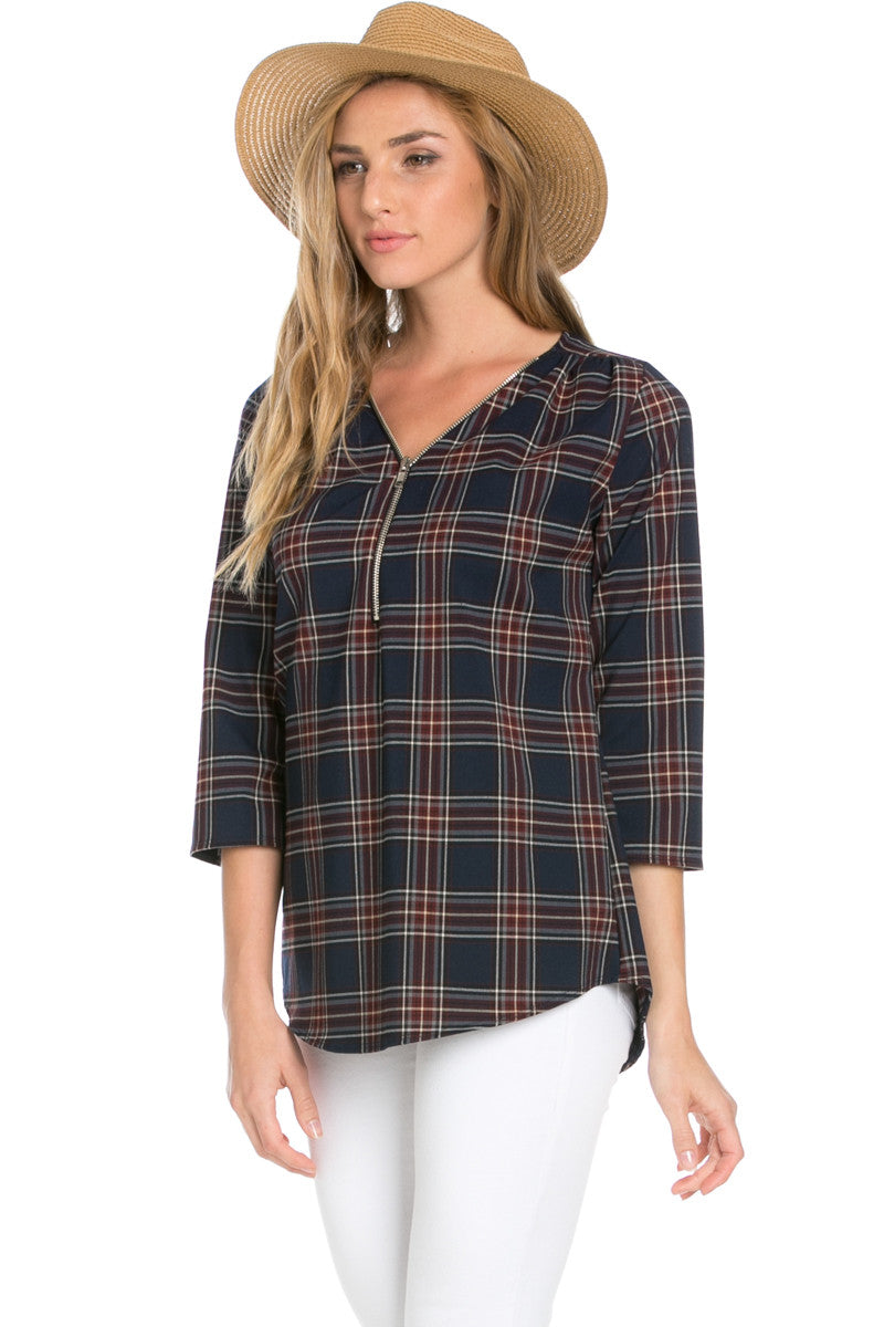 Zip Neck Navy Plaid Top - Tops - My Yuccie - 2