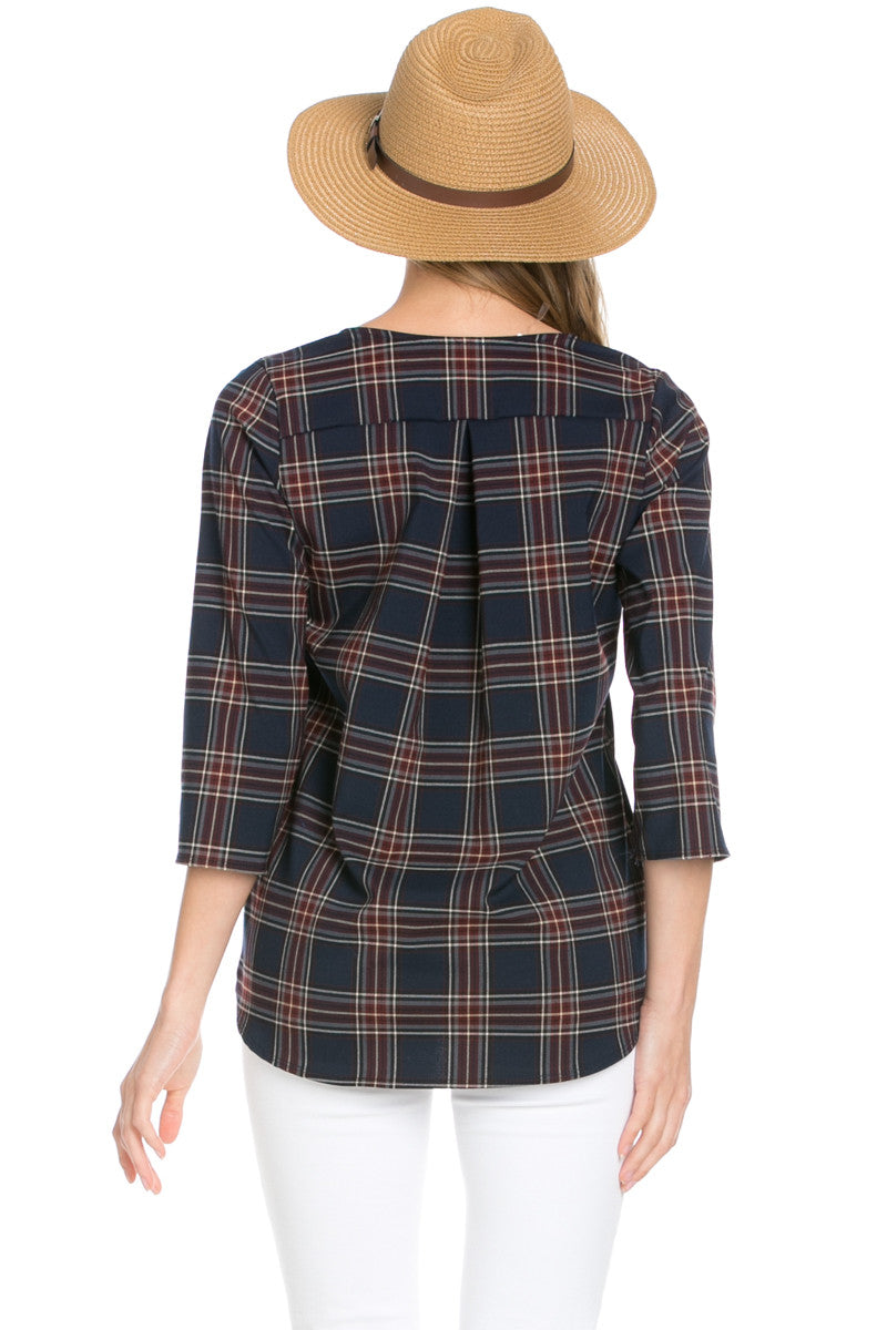 Zip Neck Navy Plaid Top - Tops - My Yuccie - 3