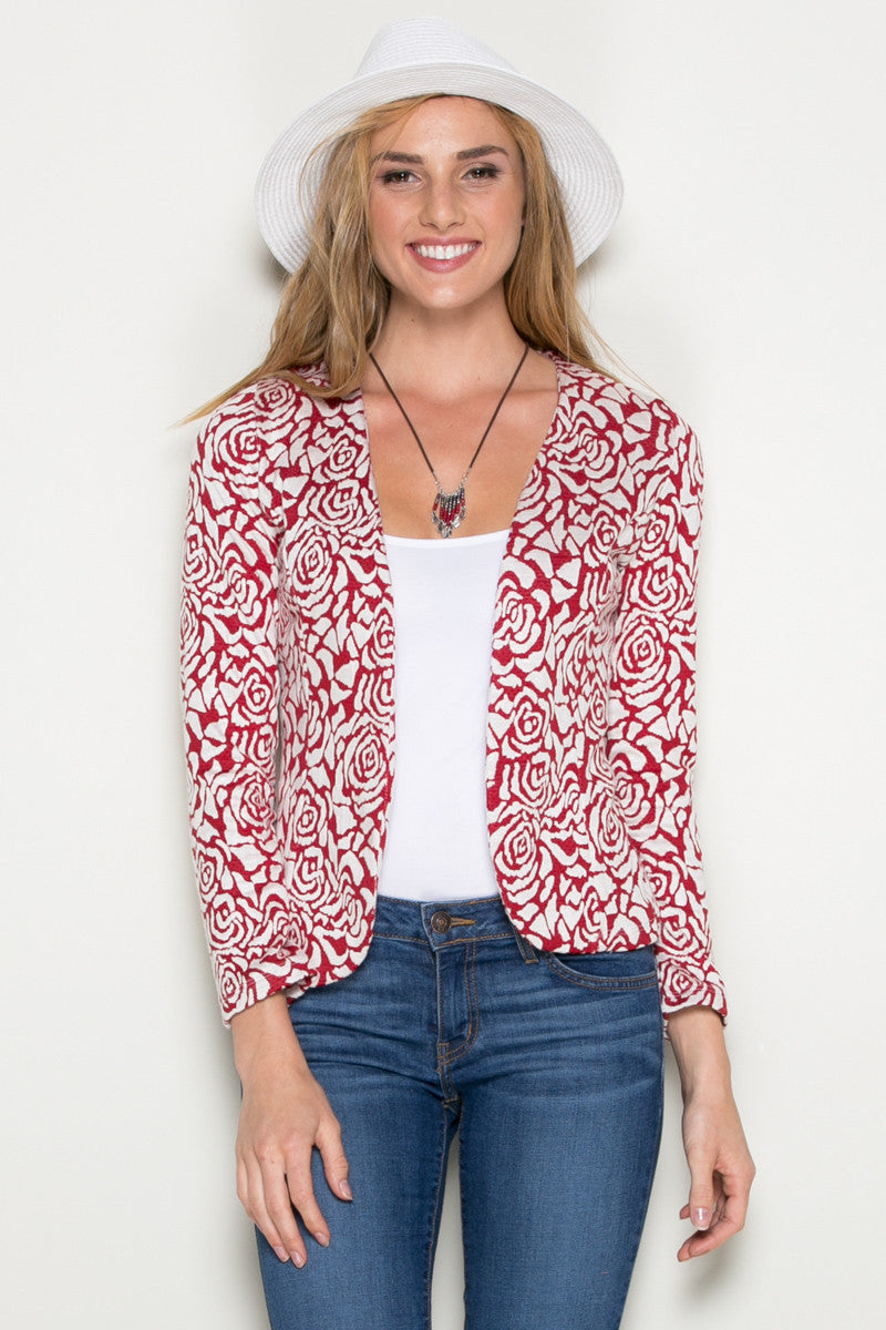 Red Rose Floral Blazer - Jacket - My Yuccie - 2