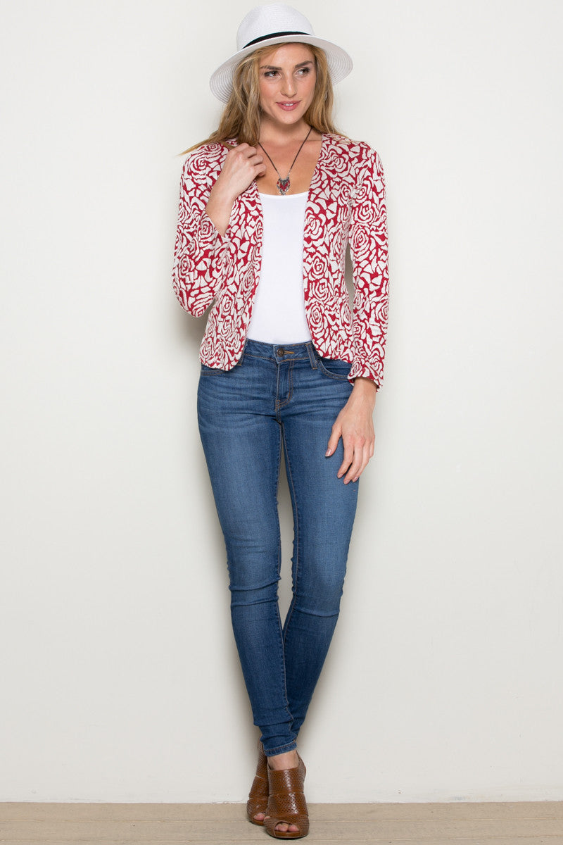 Red Rose Floral Blazer - Jacket - My Yuccie - 4