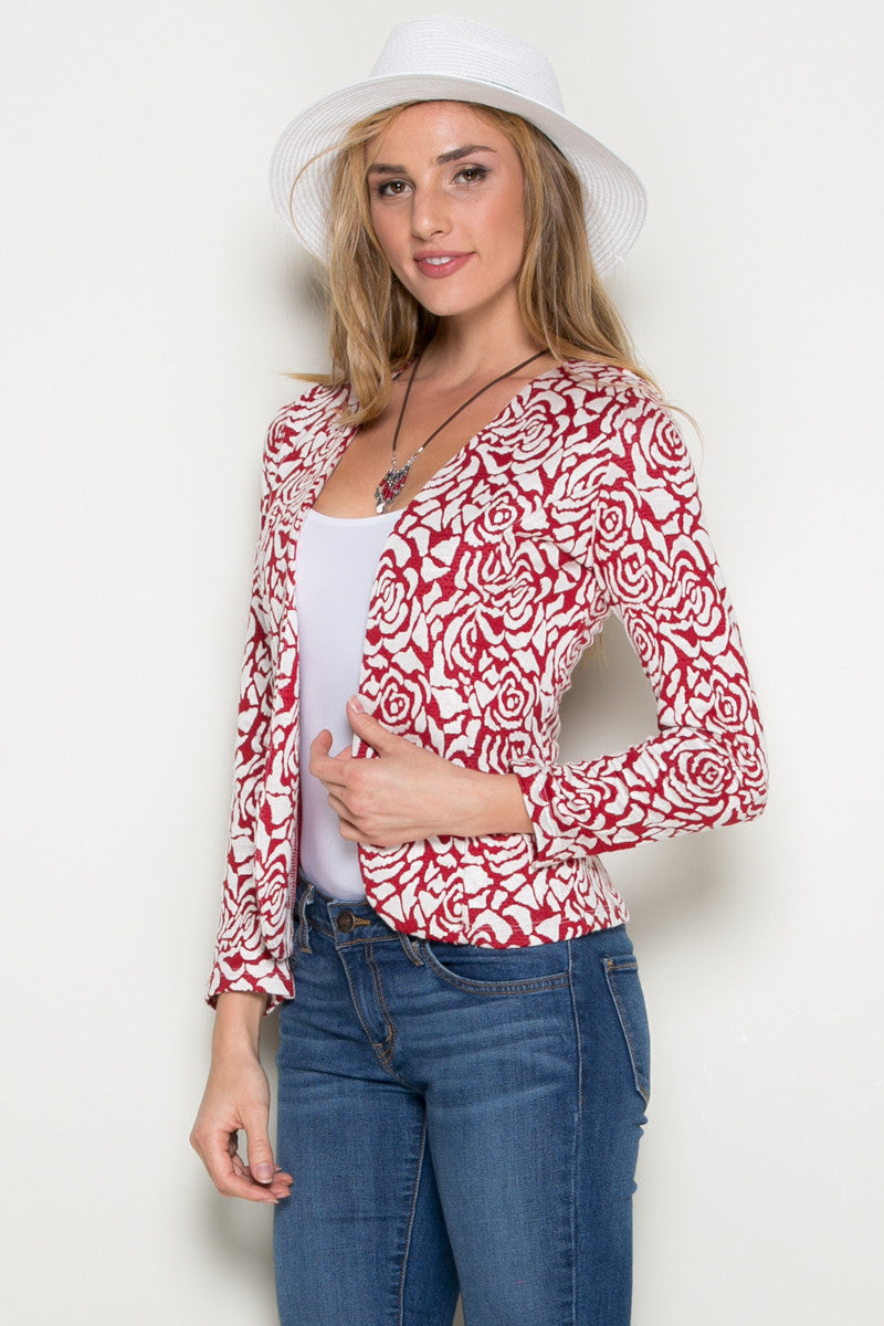 Red Rose Floral Blazer - Jacket - My Yuccie - 1