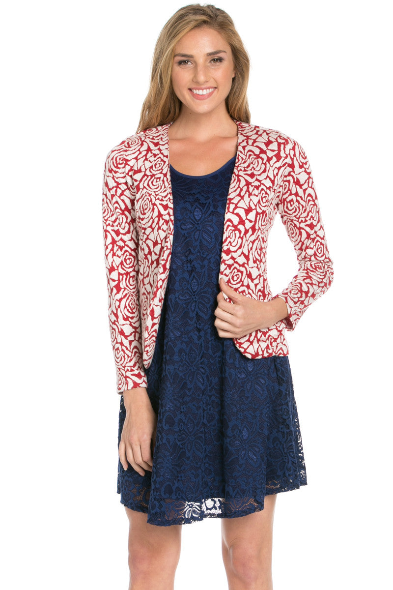 Red Rose Floral Blazer - Jacket - My Yuccie - 6