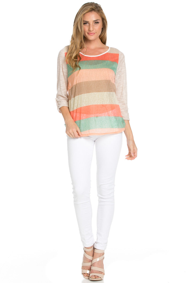 Taupe Roll Up Striped Top - Tops - My Yuccie - 4