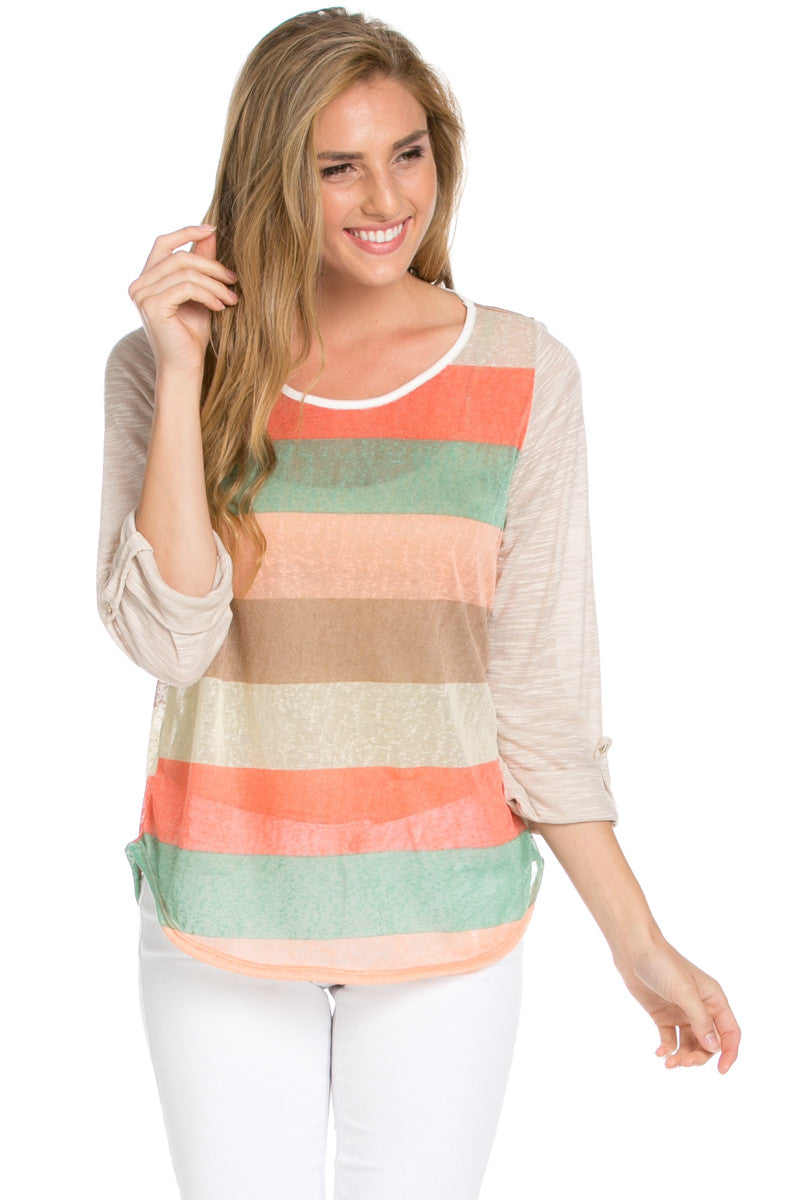 Taupe Roll Up Striped Top - Tops - My Yuccie - 1