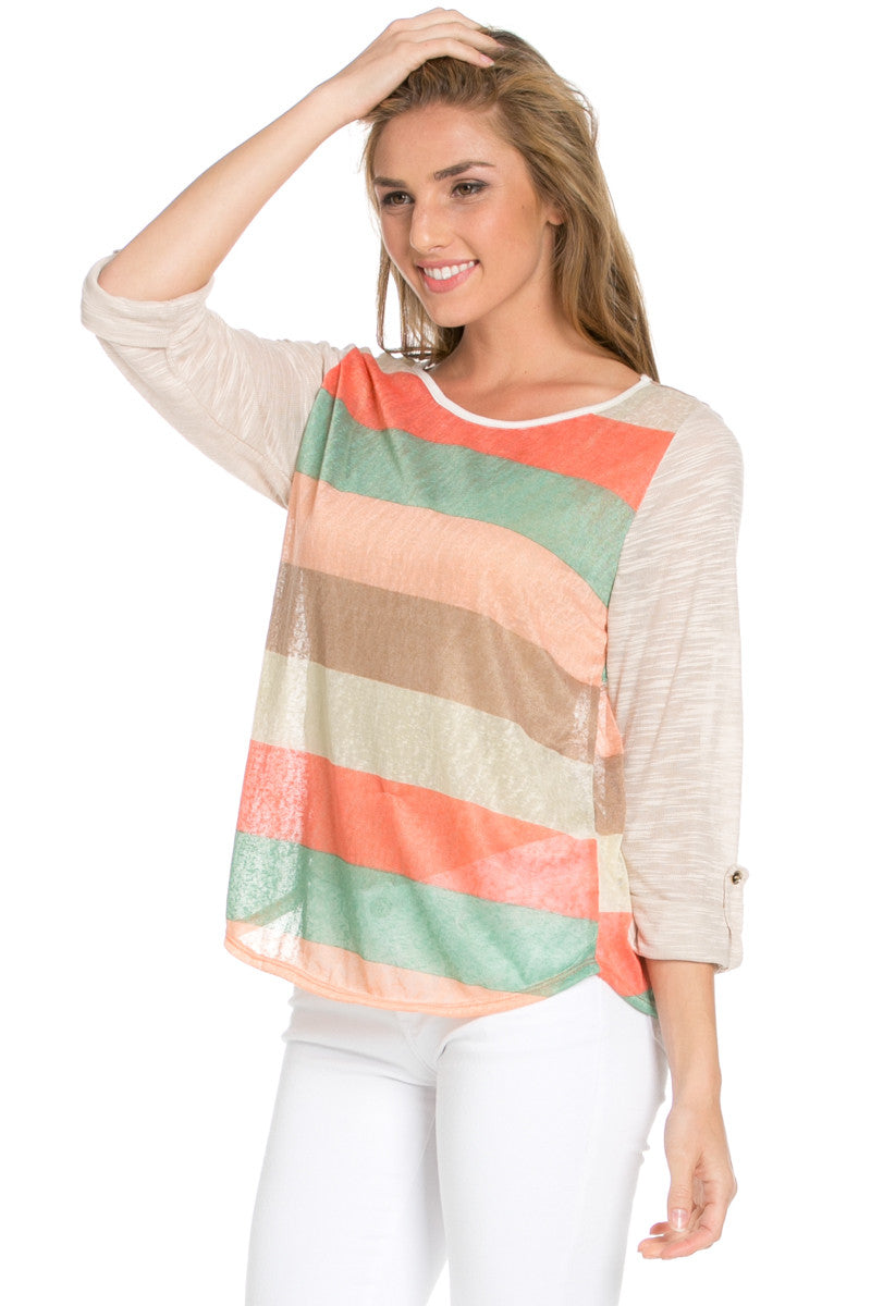 Taupe Roll Up Striped Top - Tops - My Yuccie - 2