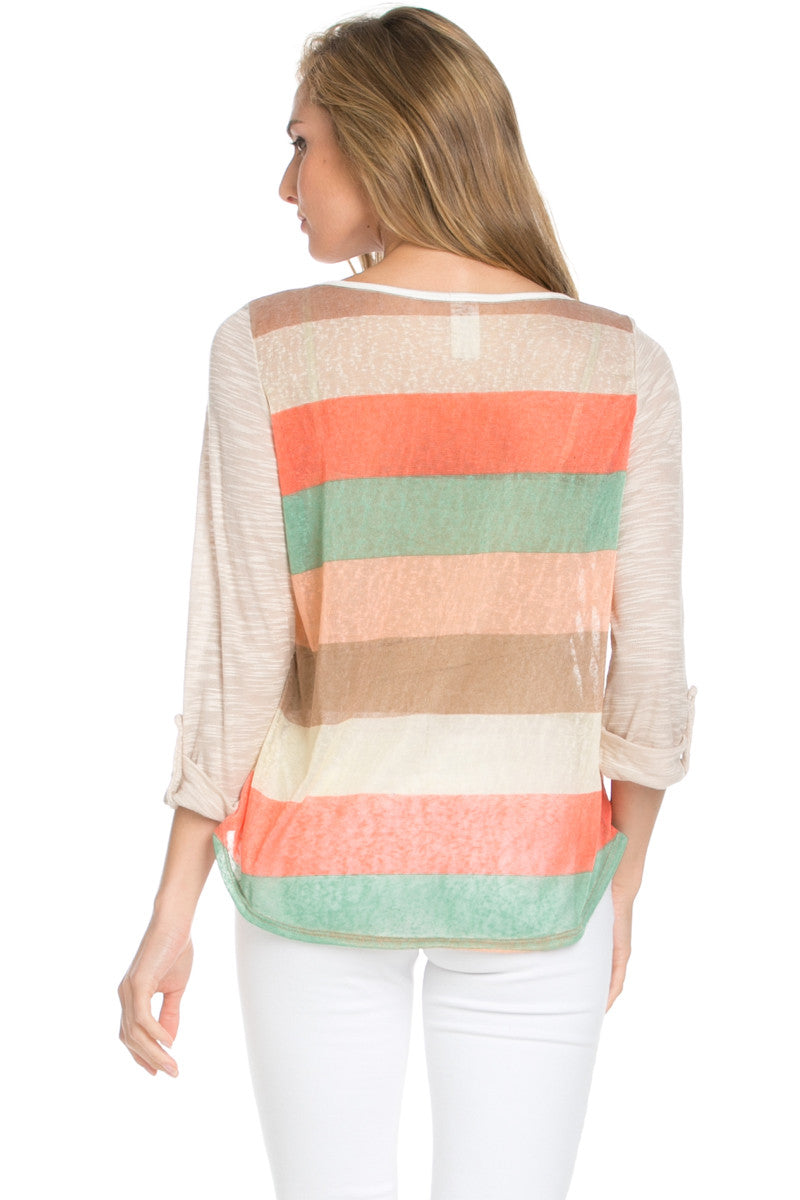 Taupe Roll Up Striped Top - Tops - My Yuccie - 3