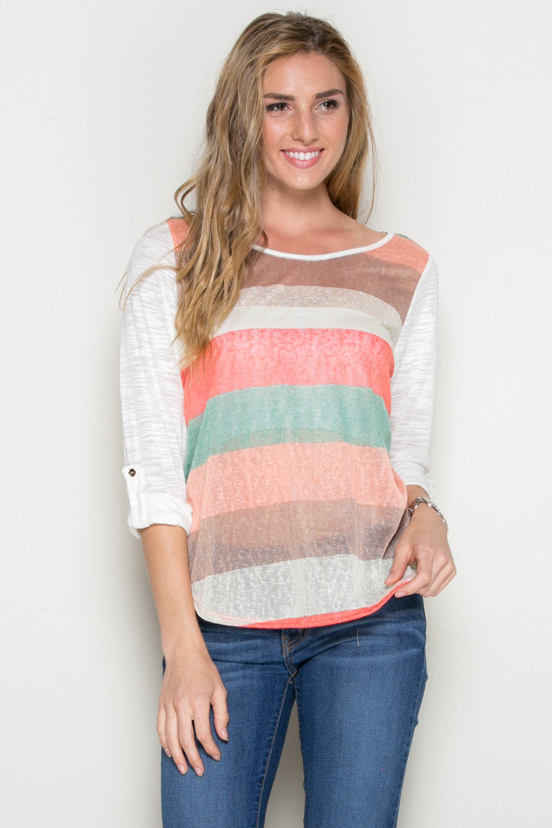 Ivory Roll Up Striped Top - Tops - My Yuccie - 2
