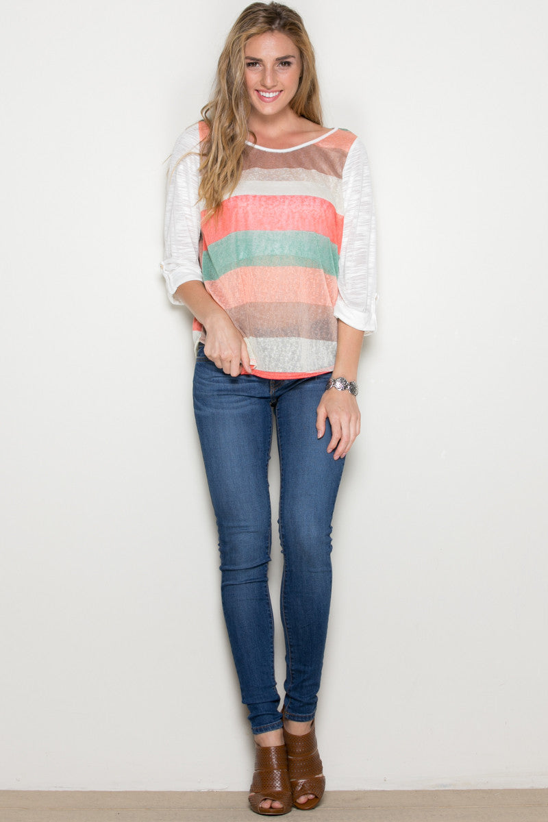 Ivory Roll Up Striped Top - Tops - My Yuccie - 4
