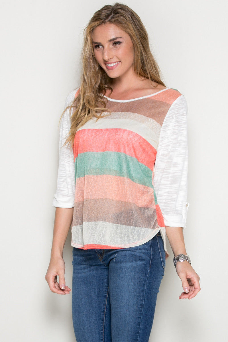 Ivory Roll Up Striped Top - Tops - My Yuccie - 1