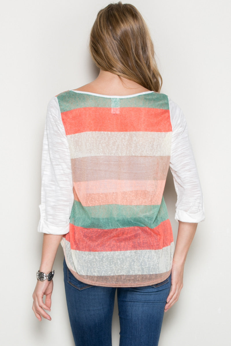 Ivory Roll Up Striped Top - Tops - My Yuccie - 3