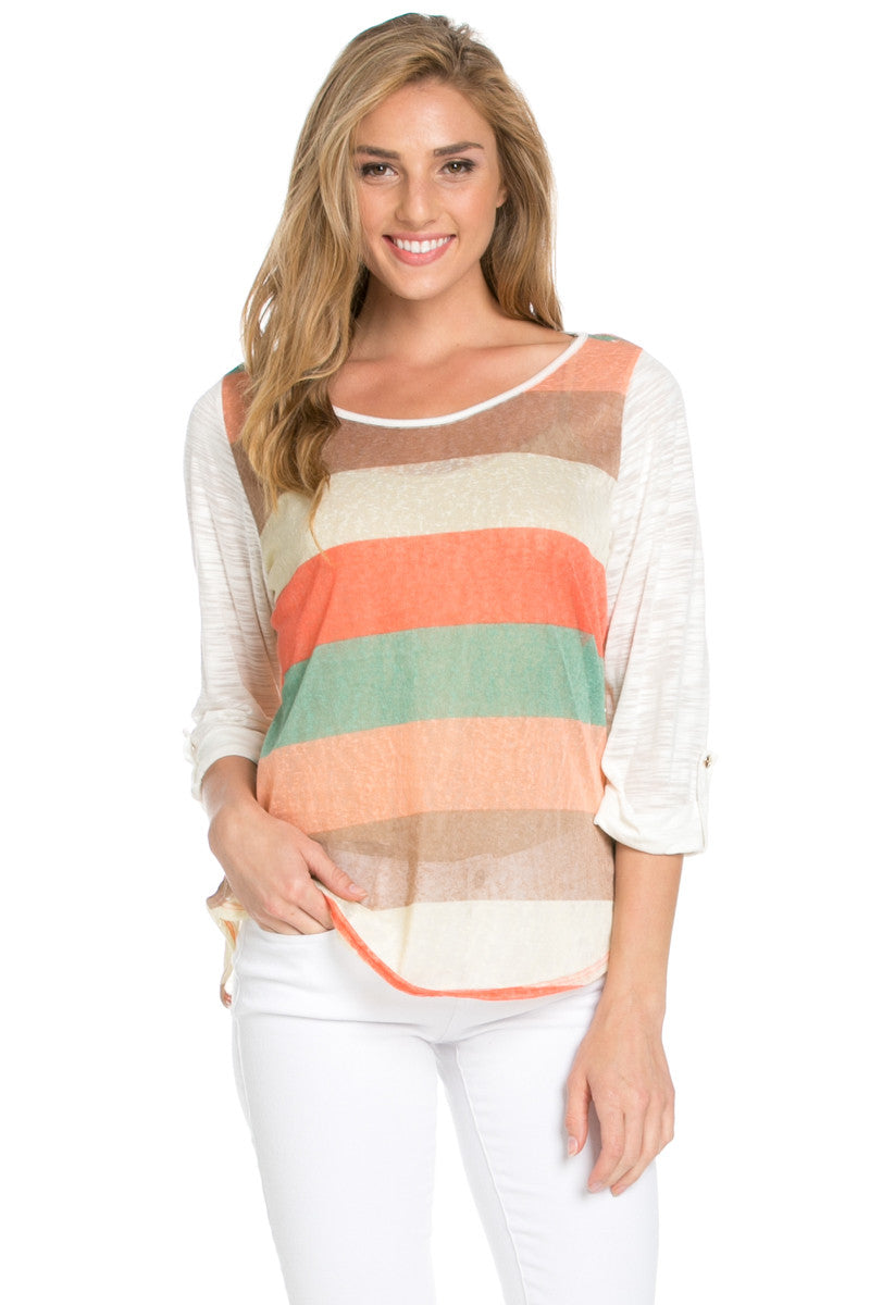 Ivory Roll Up Striped Top - Tops - My Yuccie - 5