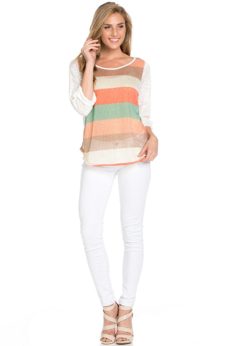 Ivory Roll Up Striped Top - Tops - My Yuccie - 6