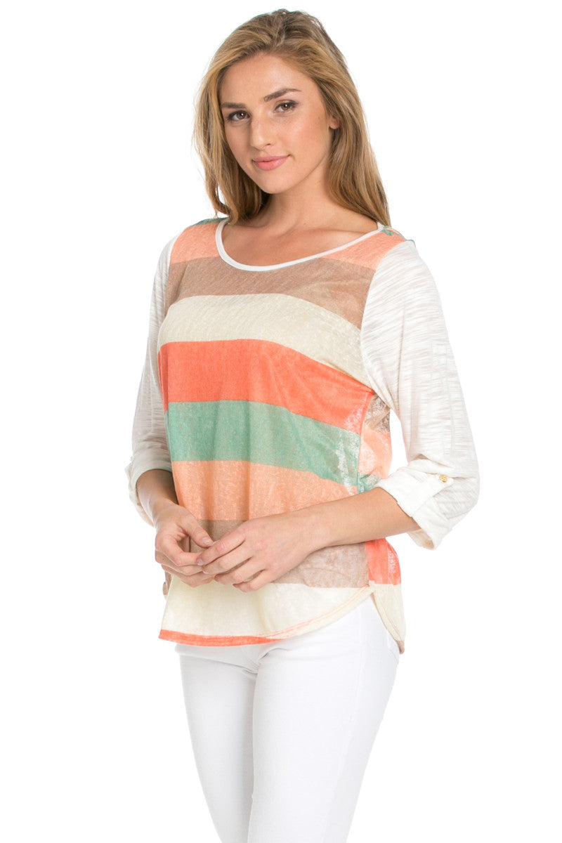 Ivory Roll Up Striped Top - Tops - My Yuccie - 7