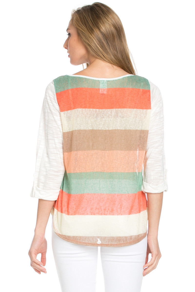 Ivory Roll Up Striped Top - Tops - My Yuccie - 8
