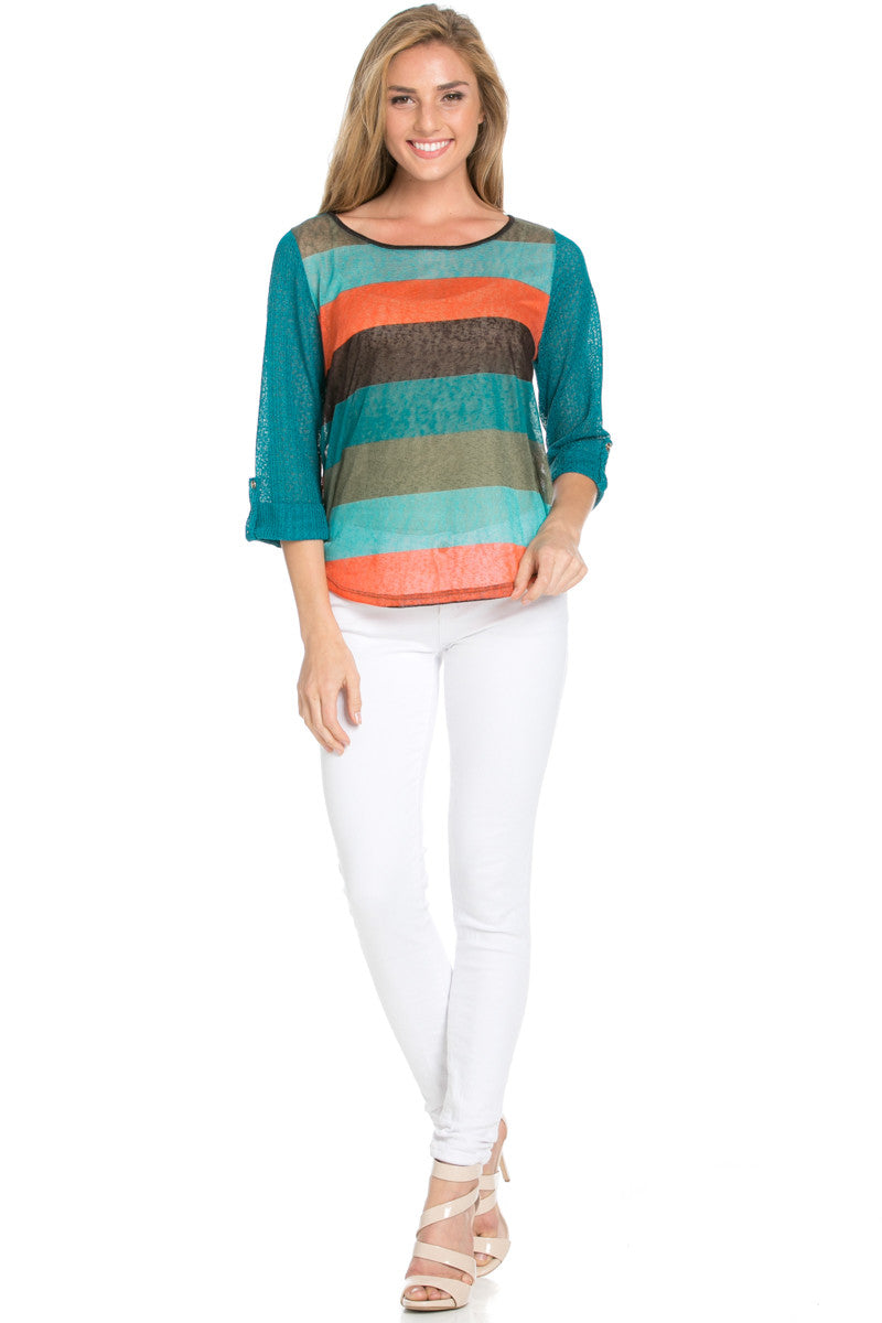 Teal Roll Up Striped Top - Tops - My Yuccie - 2