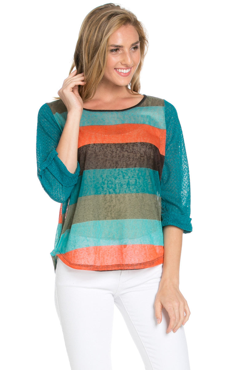 Teal Roll Up Striped Top - Tops - My Yuccie - 3