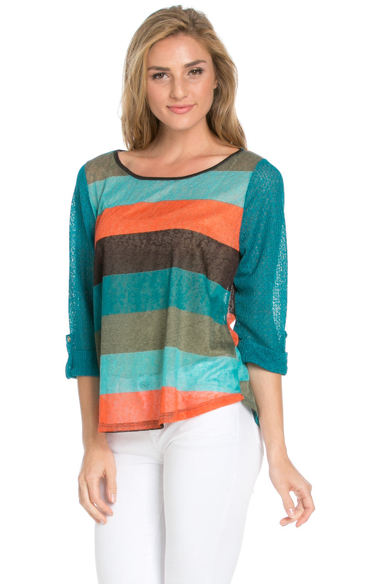 Teal Roll Up Striped Top - Tops - My Yuccie - 1