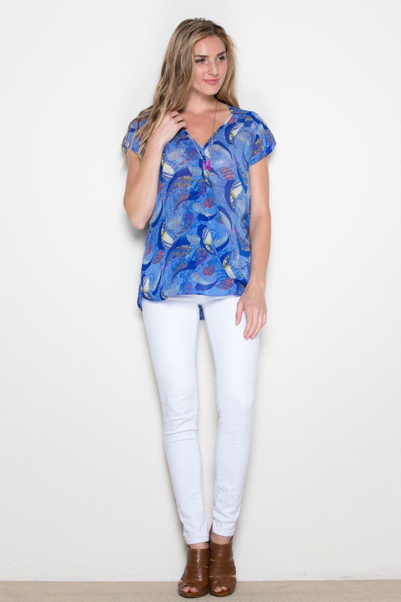 Short Sleeve Print Blue Top - Tops - My Yuccie - 4