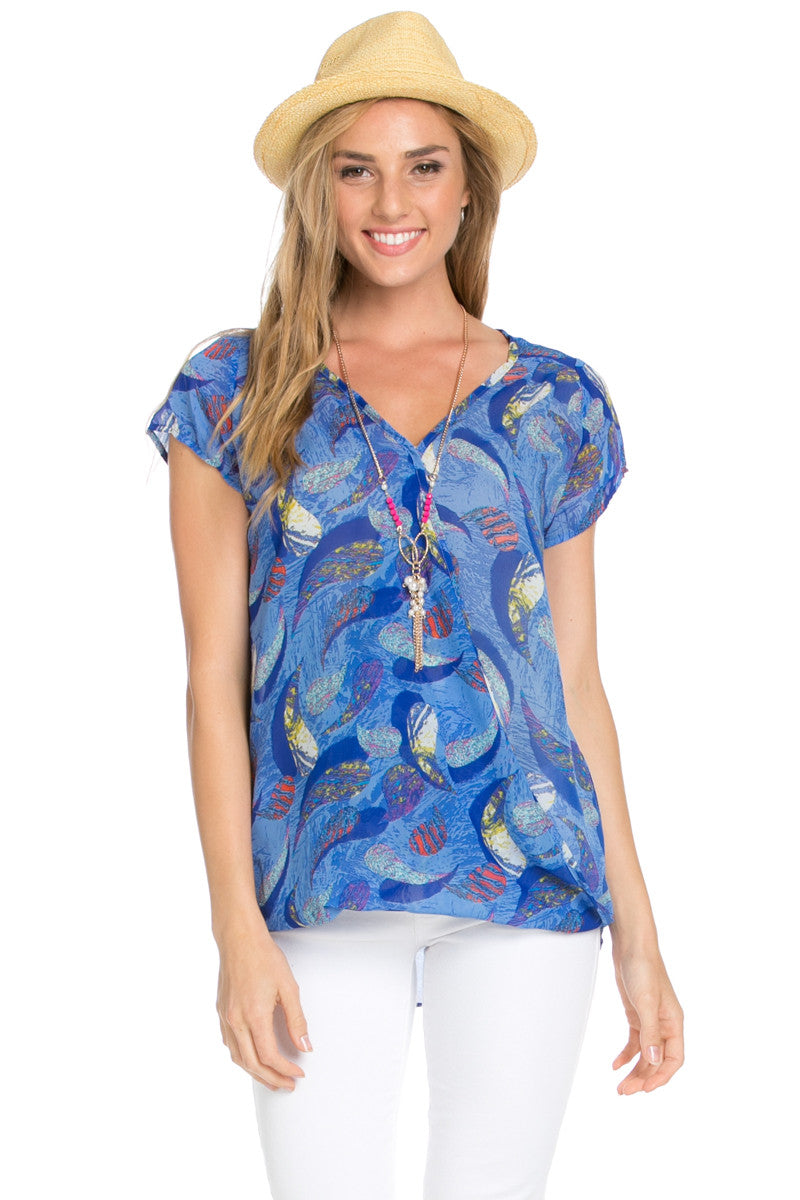 Short Sleeve Print Blue Top - Tops - My Yuccie - 5
