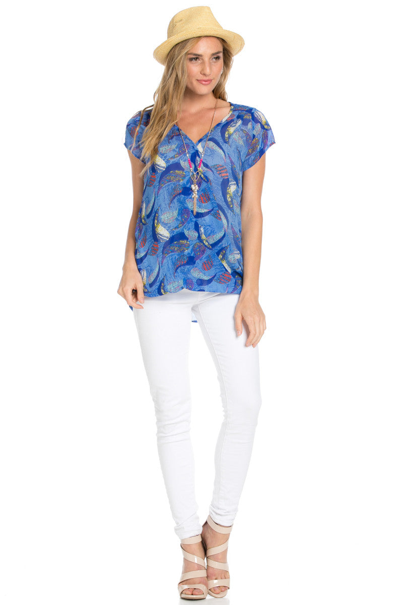 Short Sleeve Print Blue Top - Tops - My Yuccie - 8