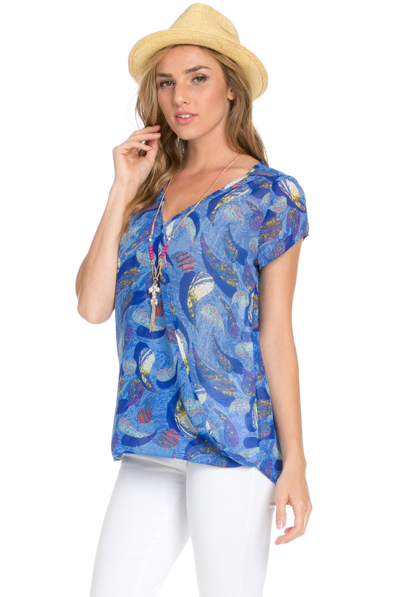 Short Sleeve Print Blue Top - Tops - My Yuccie - 6