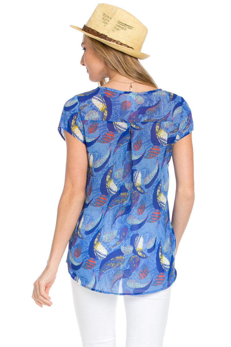 Short Sleeve Print Blue Top - Tops - My Yuccie - 7