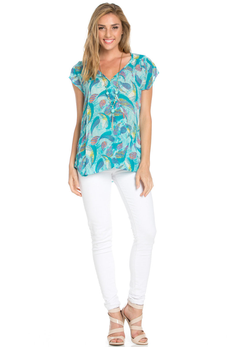 Short Sleeve Print Mint Top - Tops - My Yuccie - 4