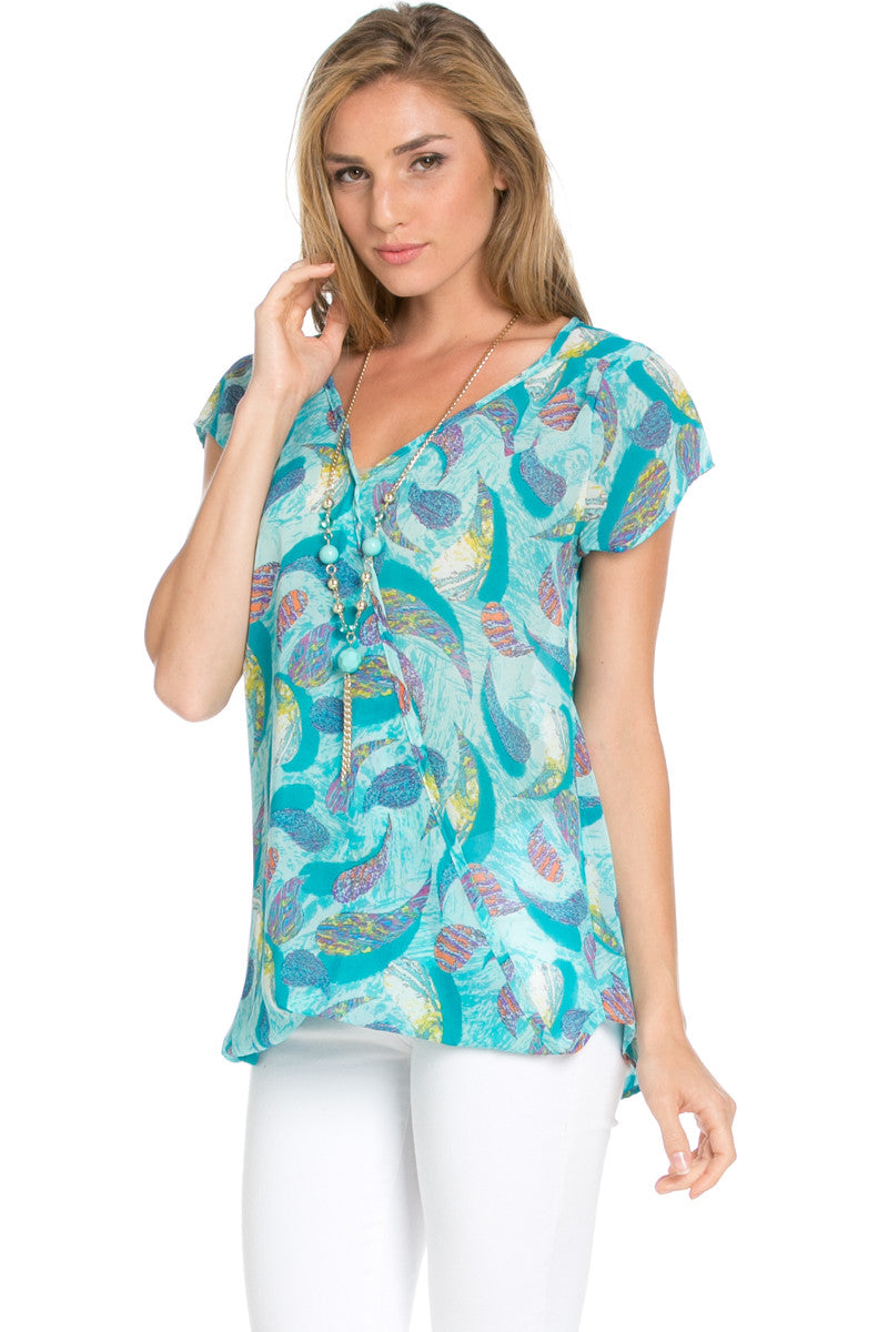 Short Sleeve Print Mint Top - Tops - My Yuccie - 2