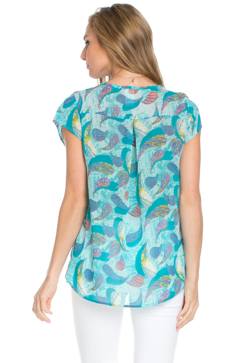 Short Sleeve Print Mint Top - Tops - My Yuccie - 3