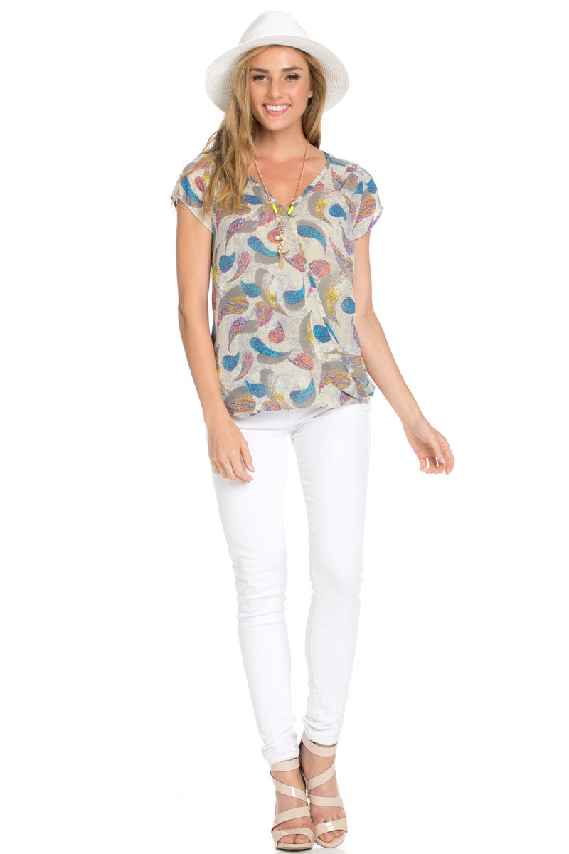 Short Sleeve Print Taupe Top - Tops - My Yuccie - 4