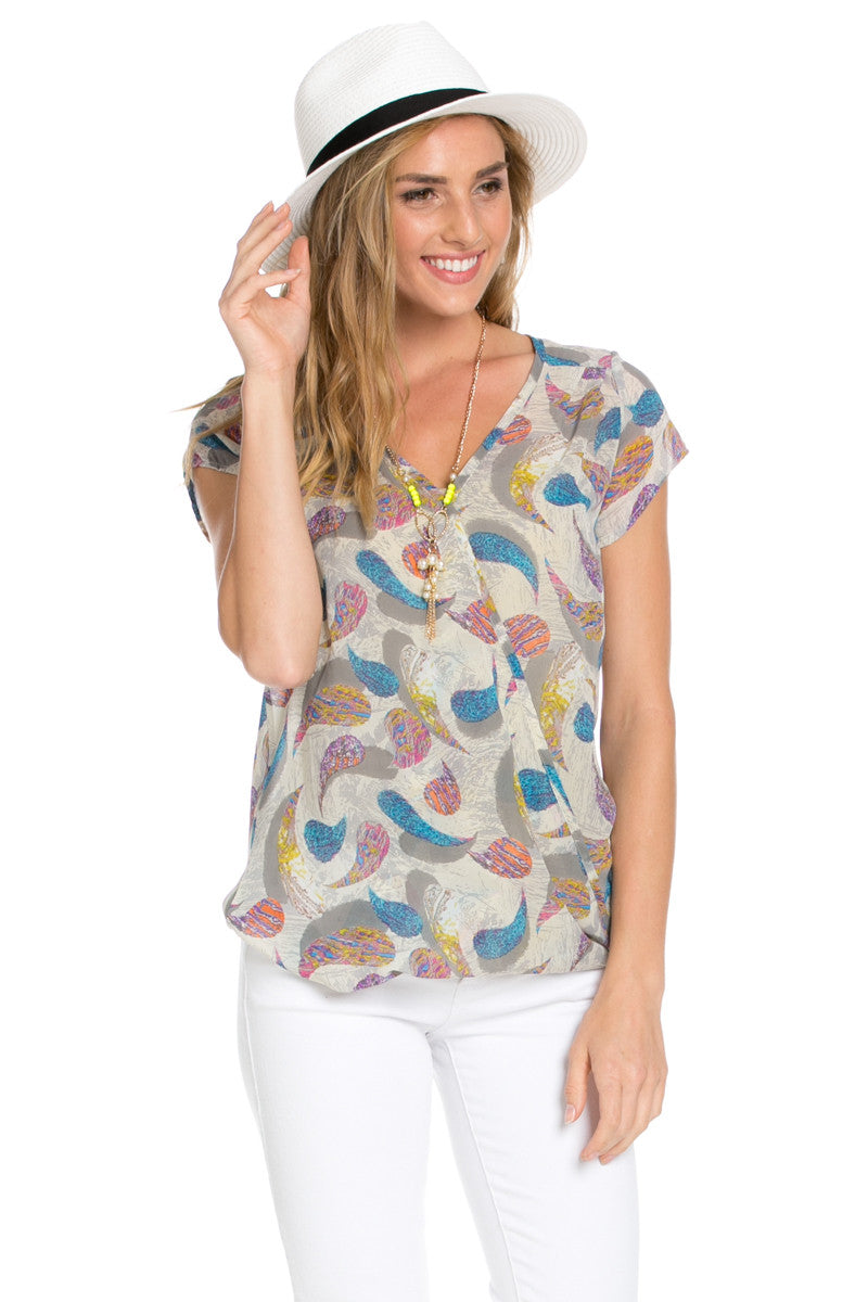 Short Sleeve Print Taupe Top - Tops - My Yuccie - 1
