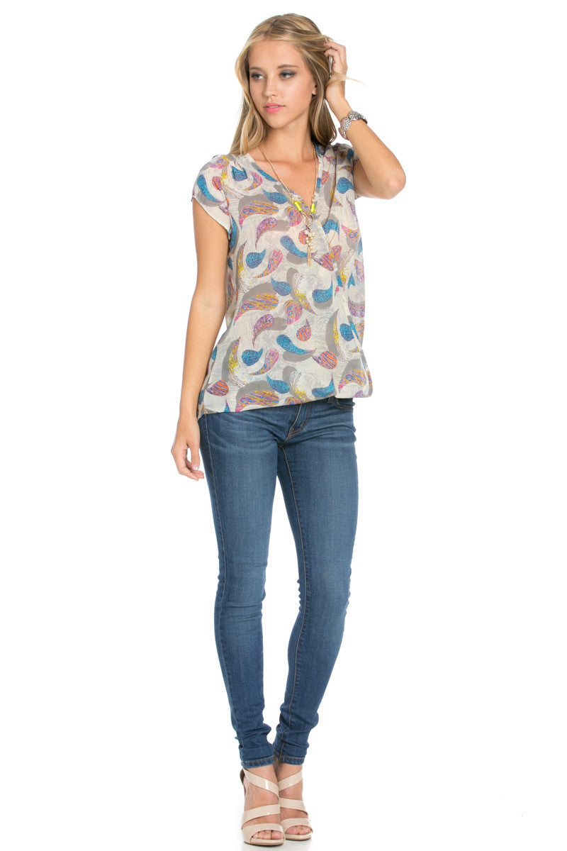 Short Sleeve Print Taupe Top - Tops - My Yuccie - 8