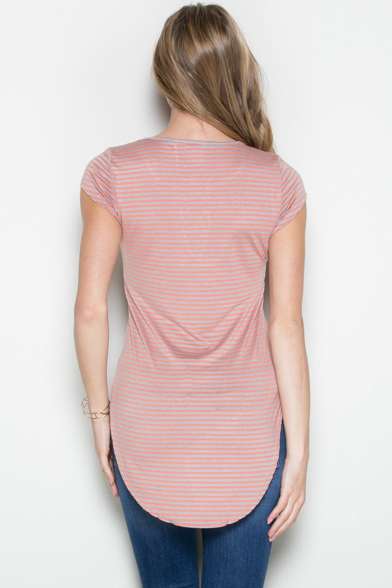 Lace Up Stripes Orange Taupe - tops - My Yuccie - 3