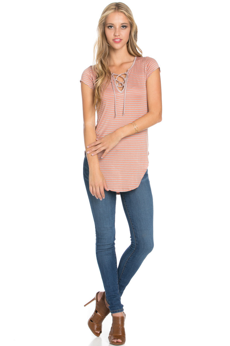 Lace Up Stripes Orange Taupe - tops - My Yuccie - 7