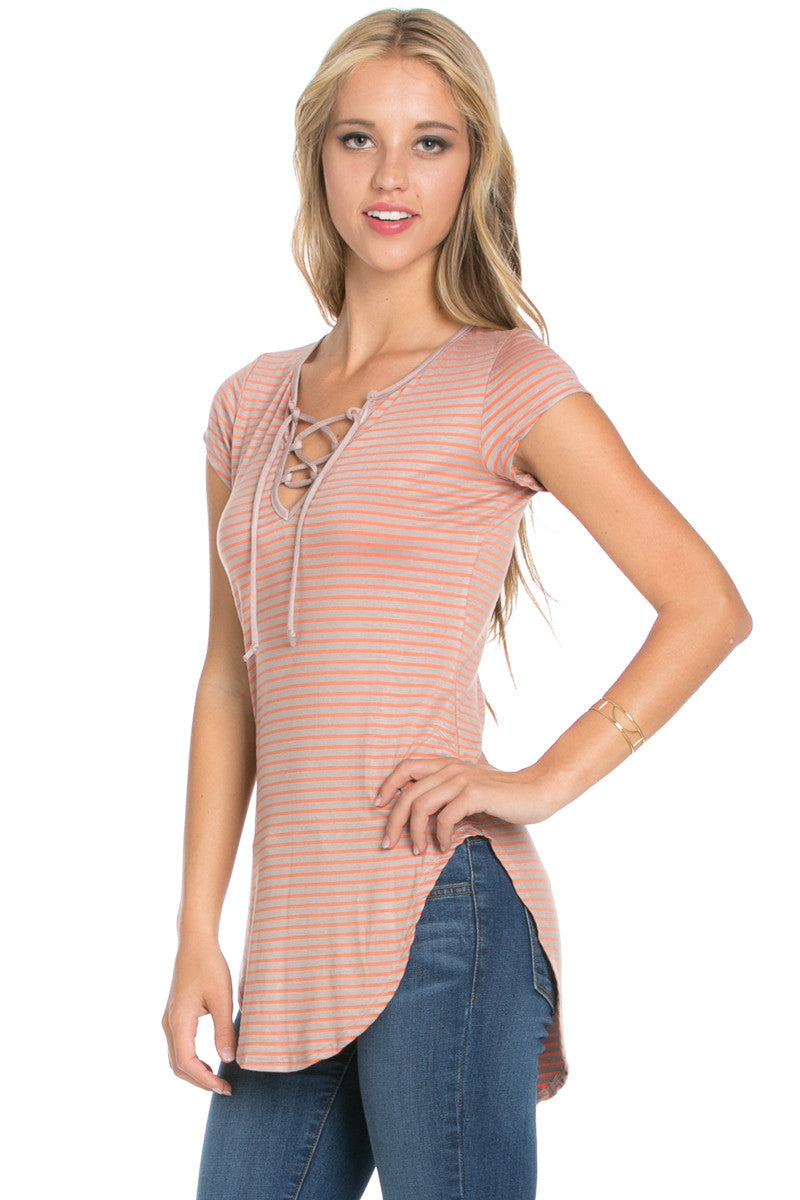 Lace Up Stripes Orange Taupe - tops - My Yuccie - 5