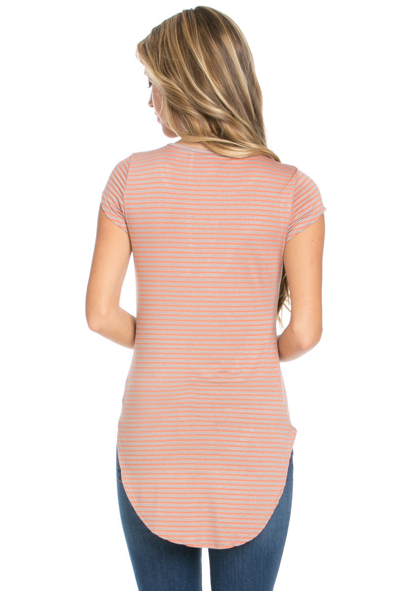 Lace Up Stripes Orange Taupe - tops - My Yuccie - 6