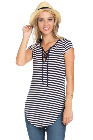 Lace Up Stripes Navy White - tops - My Yuccie - 1