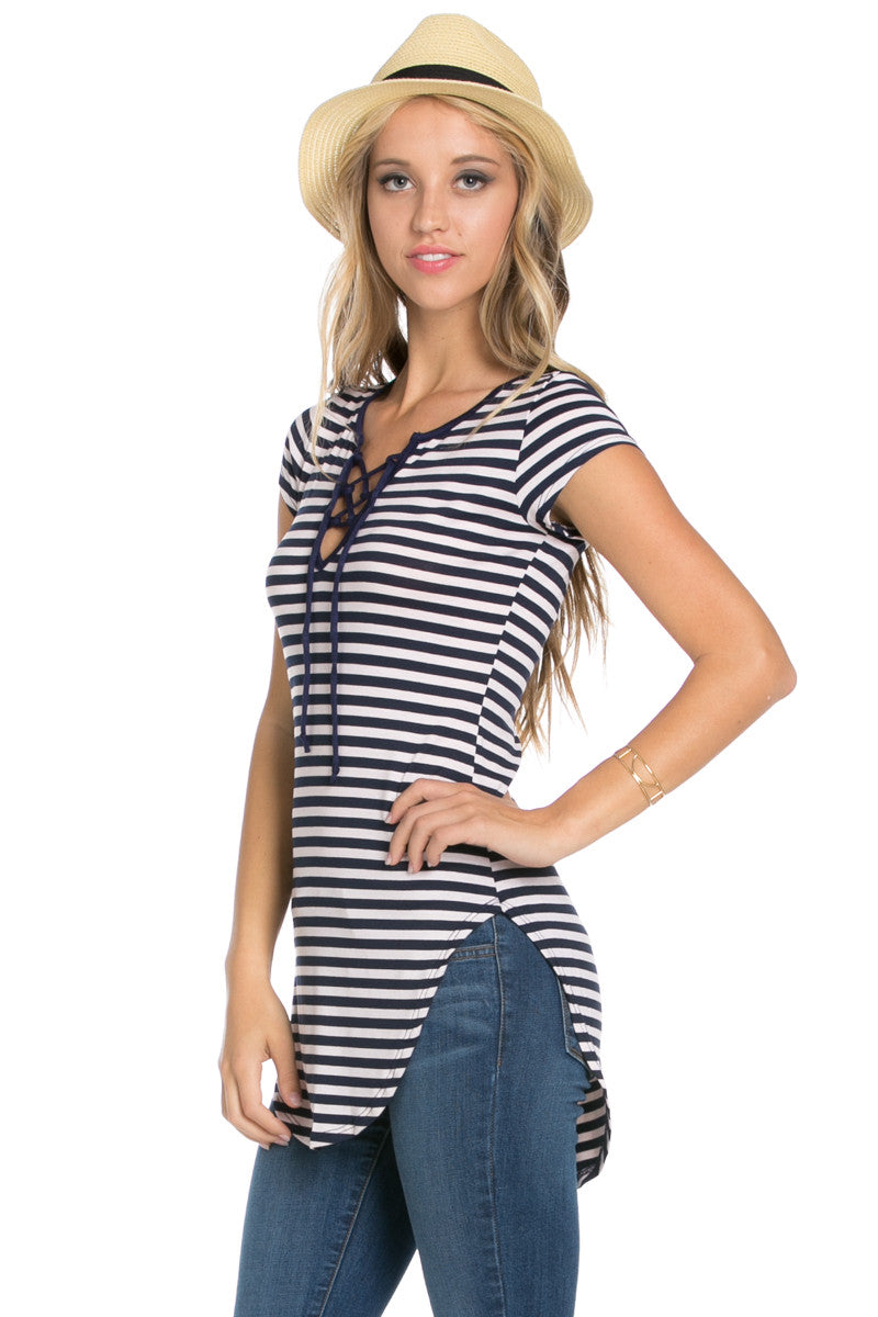 9e4802bf8fb Lace Up Stripes Navy White - tops - My Yuccie - 2