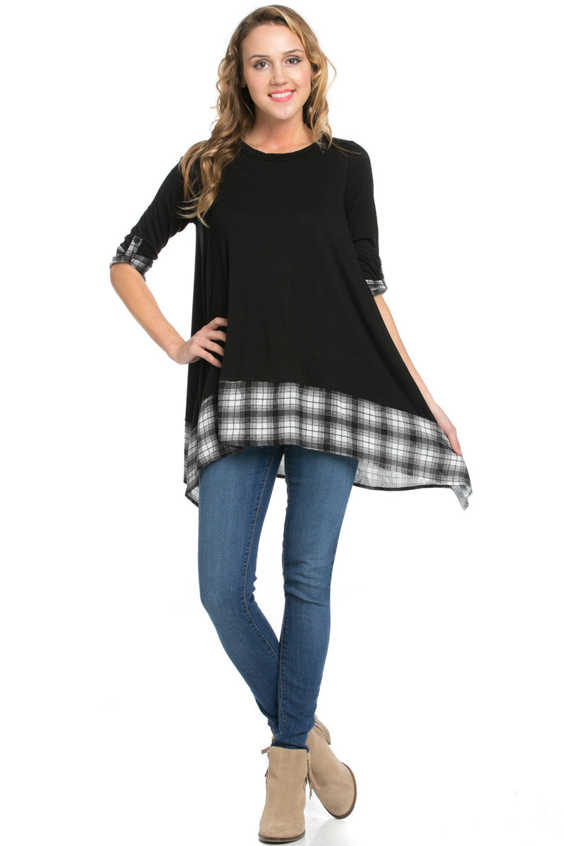 Basic & Plaid Tunic Black - Tunic - My Yuccie - 4