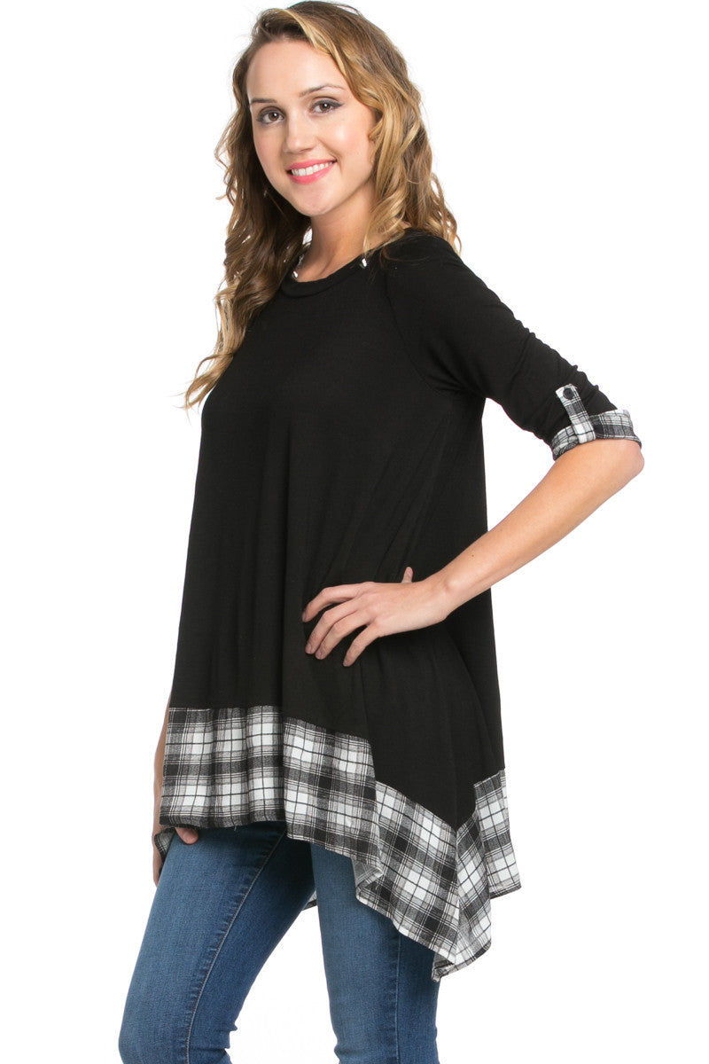 Basic & Plaid Tunic Black - Tunic - My Yuccie - 1